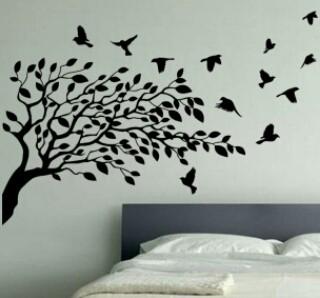 Decoraci n de pared con rbol y p jaros dise o - Utensilios para pintar paredes ...