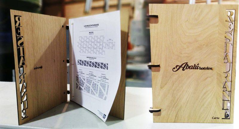 Cartas para restaurante en madera de roble